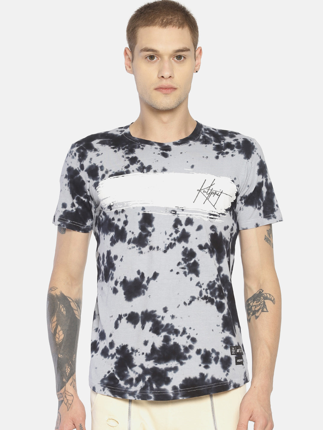 Round Neck Short Sleeve Tshirt With All over Printed