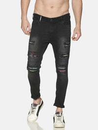 Impackt Men's Skinny Jeans With Printed Patch & Distressed