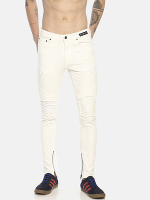 skinny denims with biker stitch and insrts
