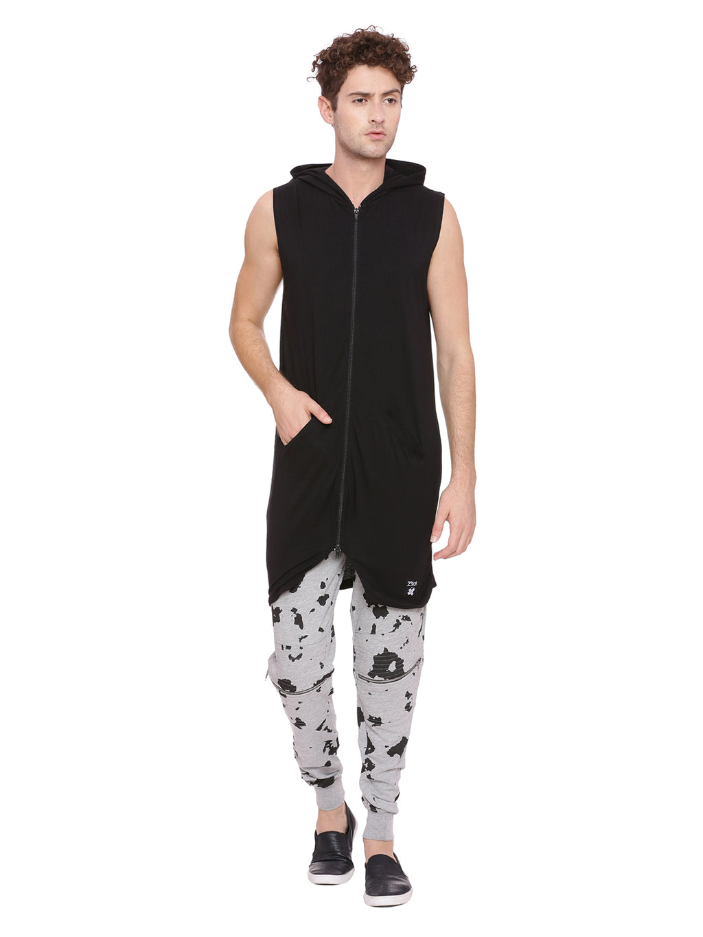 Hooded longline layering with zip
