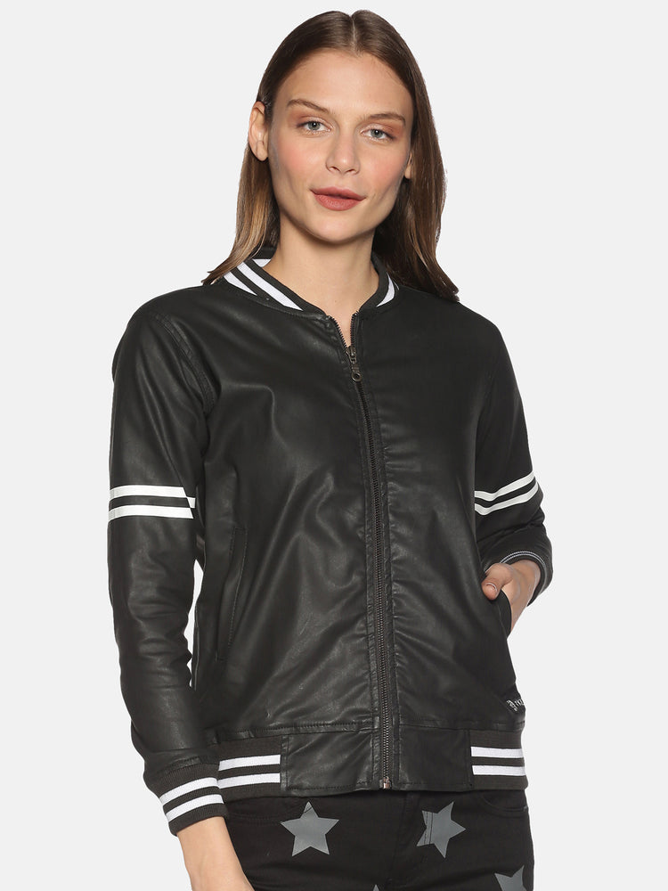 Regular Fit Jacket Of Pu Coated Material , With Metallic Zipper And Contrast Tape On Sleeves