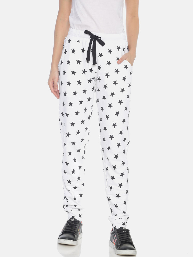 Women White Slim Fit Joggers with all over printed