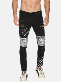 Kultprit Men's Washed Skinny Jeans With Printed & Distressed
