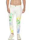 Fashion Light blue jeans with white color print