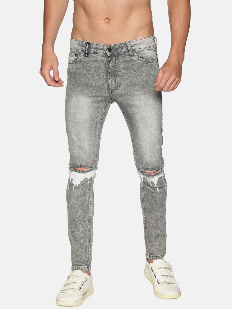 Impackt Men's Washed Skinny Jeans With Printed & Distressed