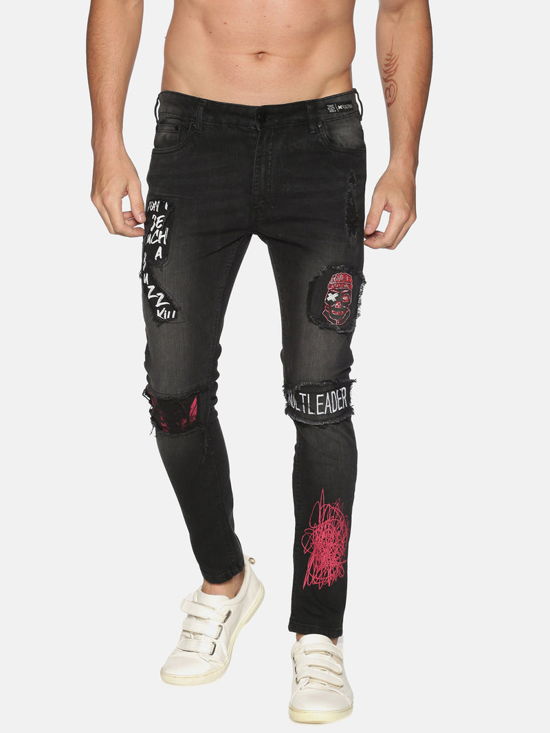 Kultprit Men's Skinny Jeans With Printed Patch's & Distressed