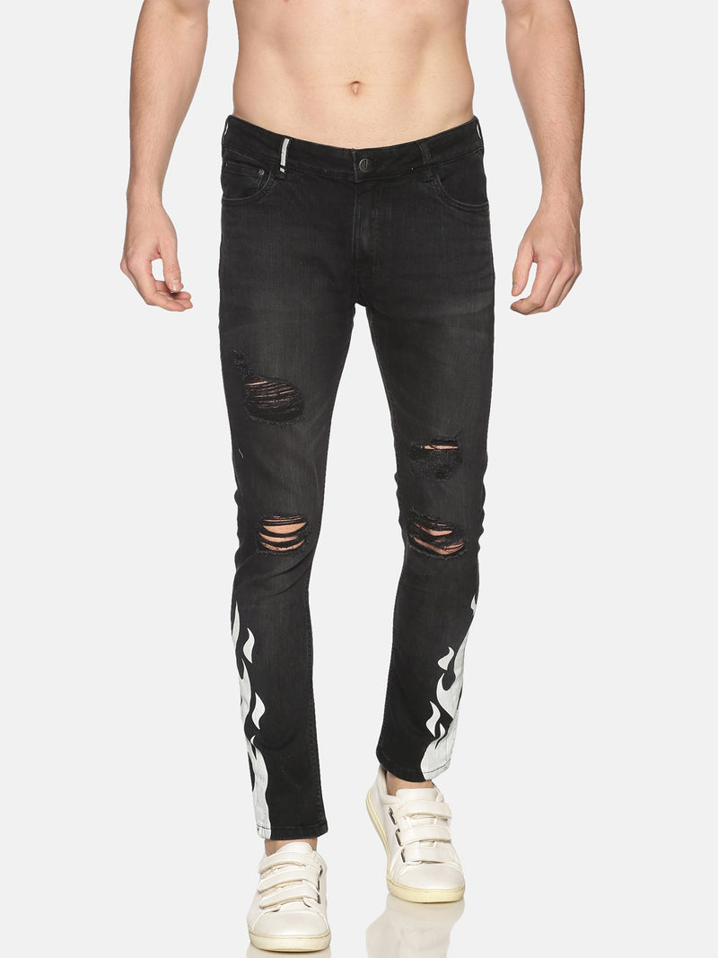 Impackt Denim Light Washed Skinny Fit 5 Pockets Printed & Distressed Jeans for Men