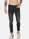 Fashion Black cargo Jeans with stripe tape at side seem