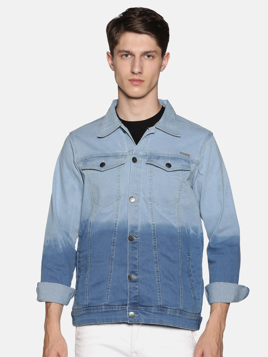 Impackt Men's Full Sleeves Denim Jackets With Ombre Wash