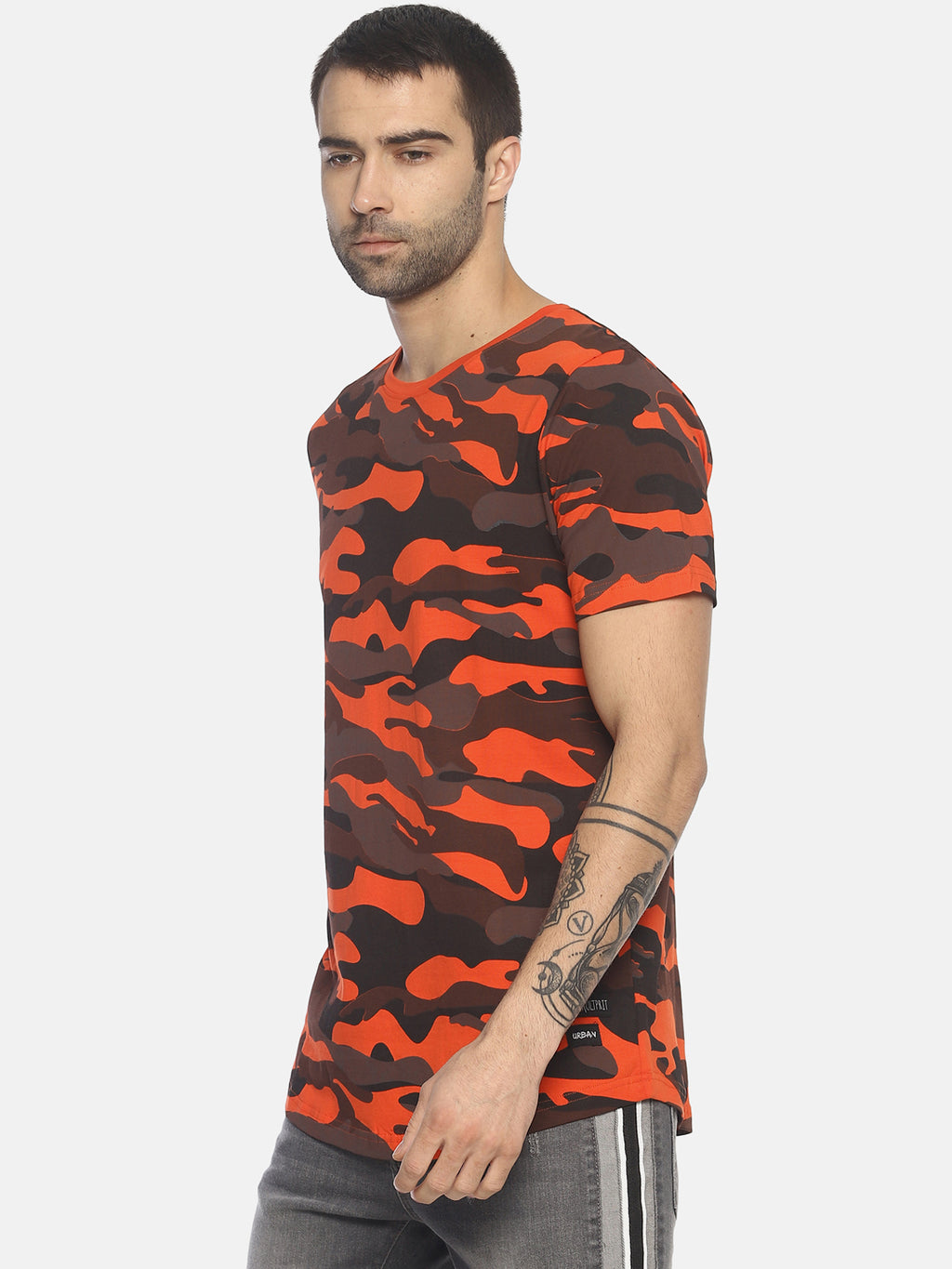 Round Neck Casual T- Shirt With Camouflage Print