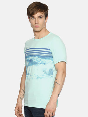 Light blue chest print t-shirt