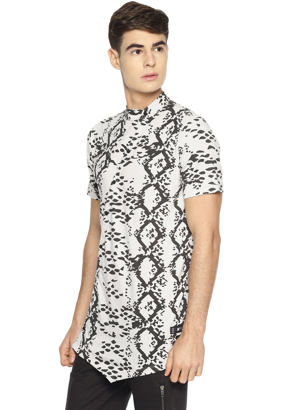 All Over Print Abstract Print Asymmetric Hem Shirt