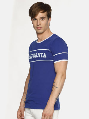 Blue chest printed t-shirt