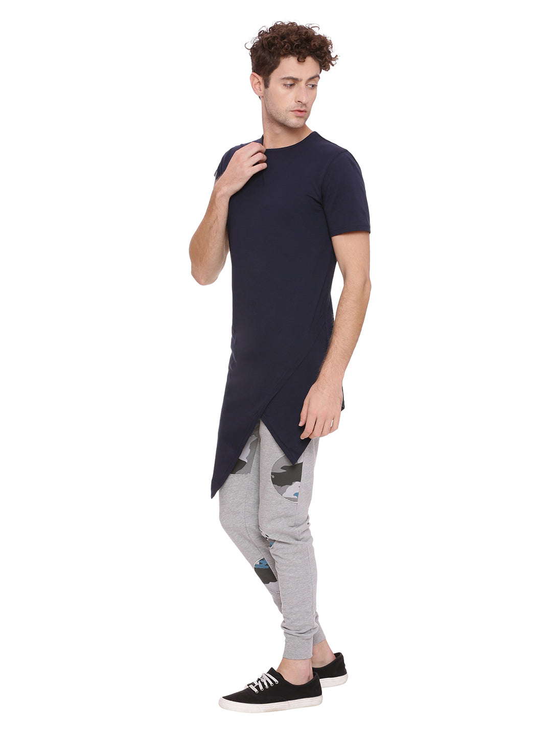 Round Neck T-Shirt with asyemtrical cut & sew panel and patch pocket on sleeve