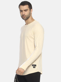 Colour Block,Full Sleeve Round Neck Tshirt With Curve Hem