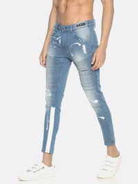 Splatter Printed Skinny Denims With Biker Elements And Side Tape