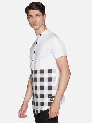 Kultprit Men's Half Sleeve T-Shirts With Checker Print & Colour Block