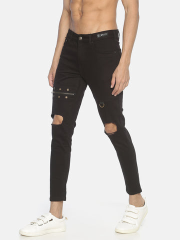 Skinny Denim With Zips And Eyelet And Knee Distrss