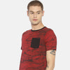 Red printed pocket t-shirt