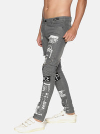 Kultprit Men's Skinny Jeans Placement Print With Chain & Distress