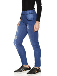 Kultprit Women's Jeans With Waist Flap Pocket & Distressed