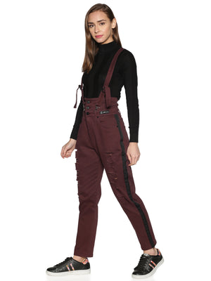 Kultprit Women's Jeans With Suspenders & Distressed