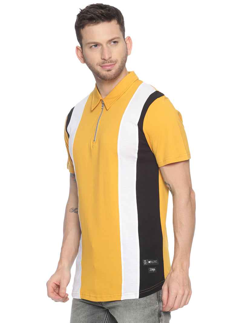 Fashionable style T-Shirt ideal for men with Colour block Zip Collor