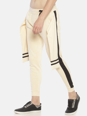 Beige Side Taped Joggers