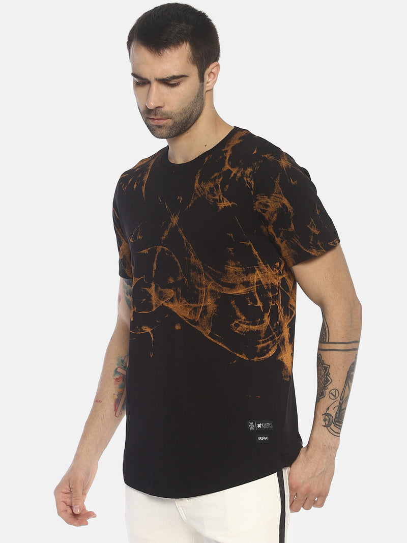 All Over Printed , Round Neck T shirt With Curve Hem