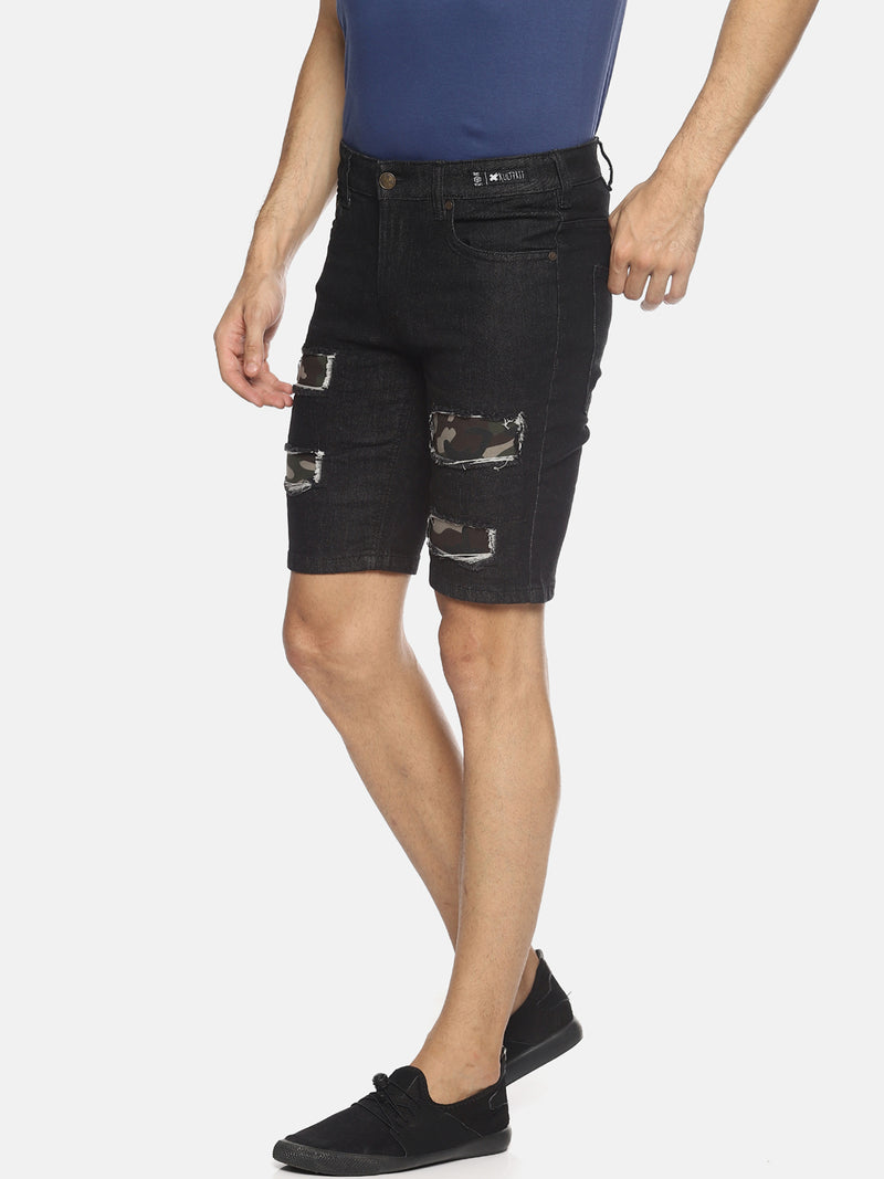 Black Patched Shorts