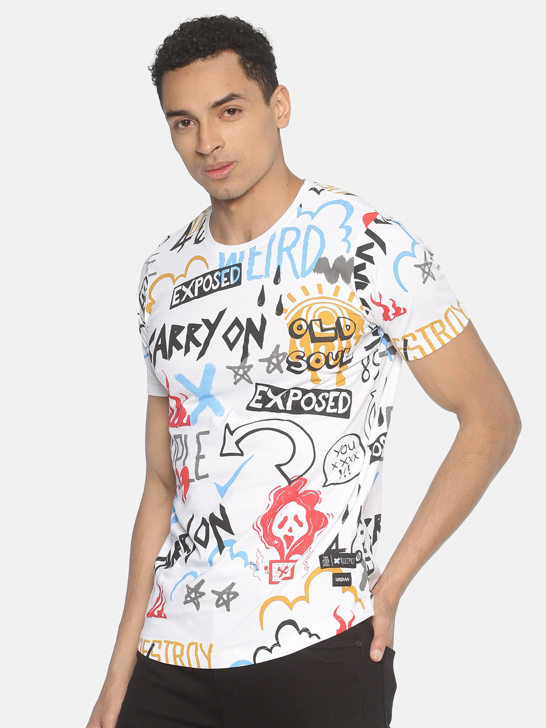 Round Neck Short Sleeve T shirt With All Over Printed
