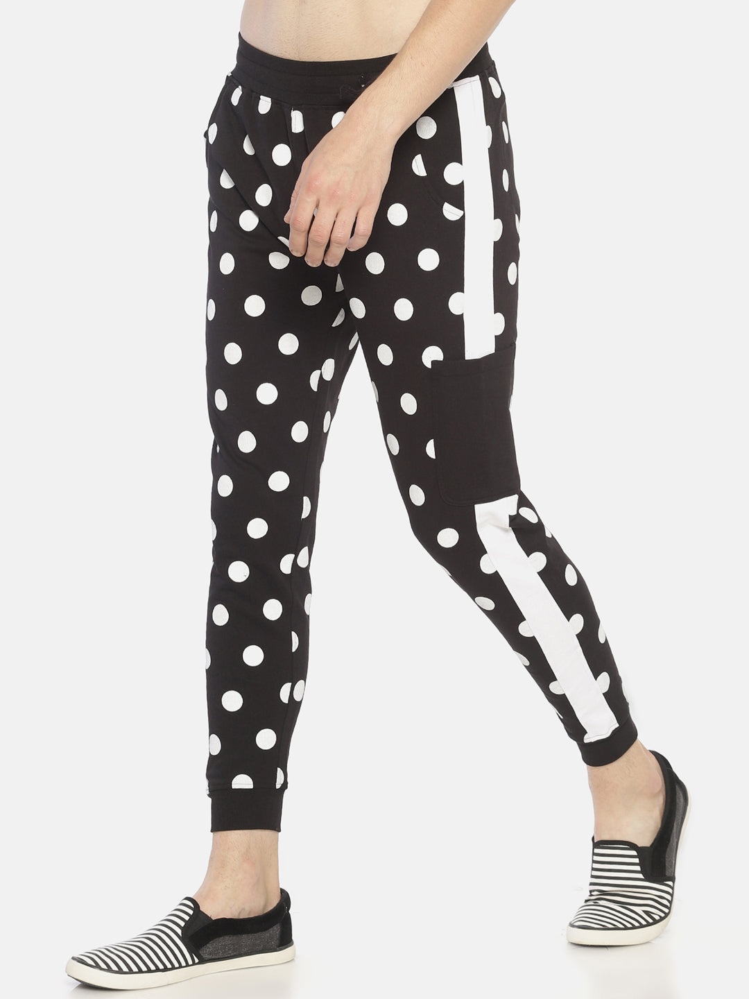 Side Tape Allover Printed Joggers With Pocket