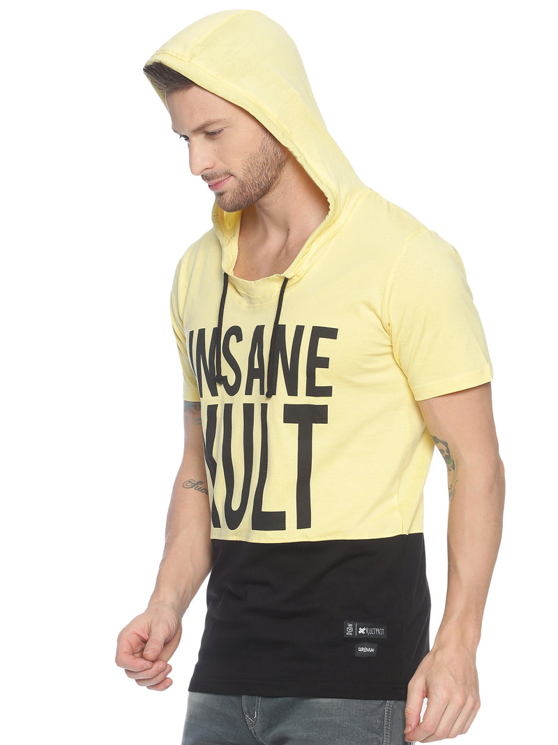 fashionable style T-Shirt ideal for men with Placement Print Hooded