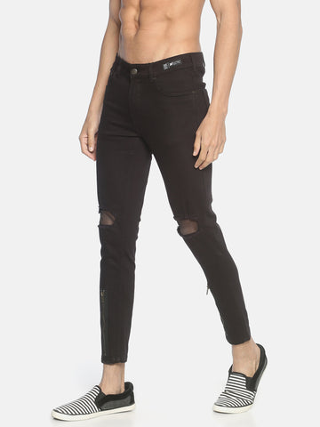 Dual Zipper Skinny Denim With Mesh