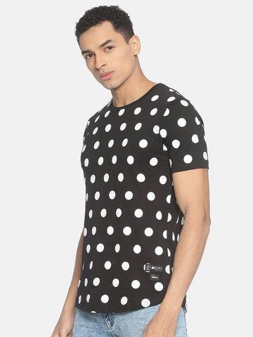 Round Neck Allover Printd Polka Dot T-Shirt