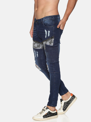 Impackt Men's Skinny Jeans Cargo Pocket With Biker Detail, Distress & Camo Patch