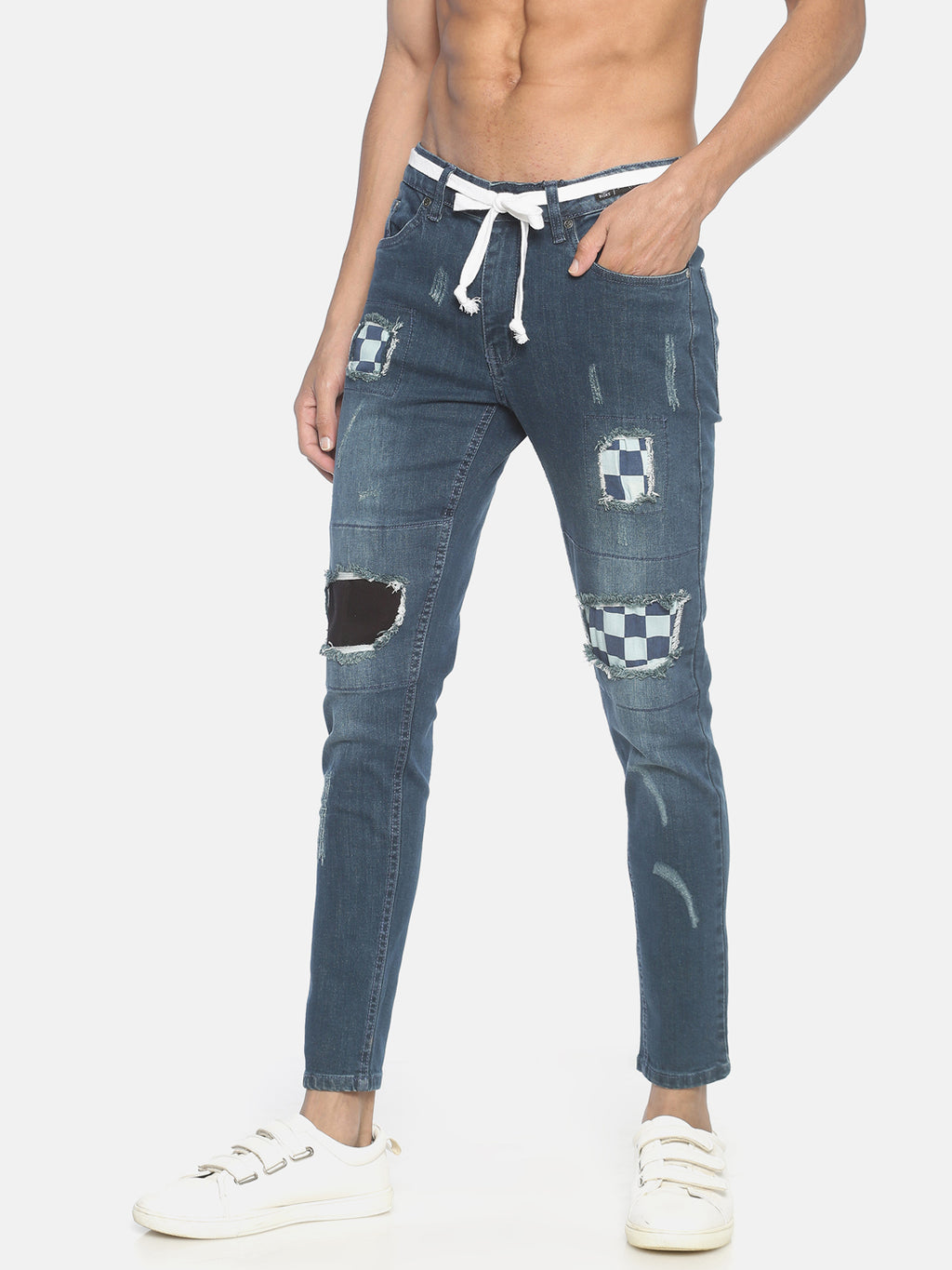 Blue Ripped Patched Denim Jeans