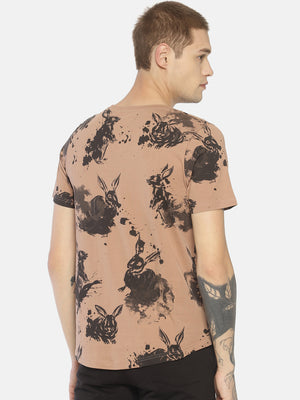 Brown all over print t-shirt