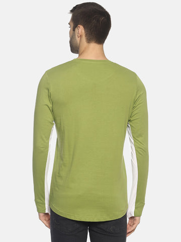 Colour Block,Full Sleeve Round Neck T shirt With Curve Hem