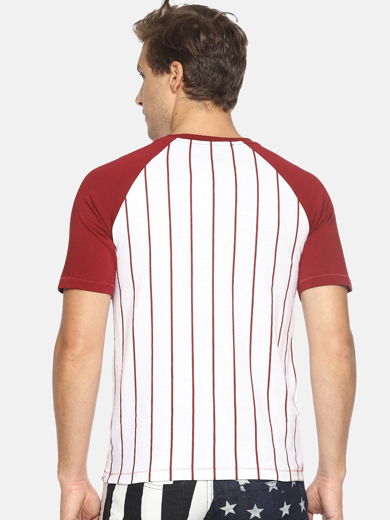 White striped raglan t-shirt