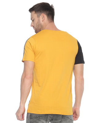 Fashionable style T-Shirt ideal for men with Colour block curve hem