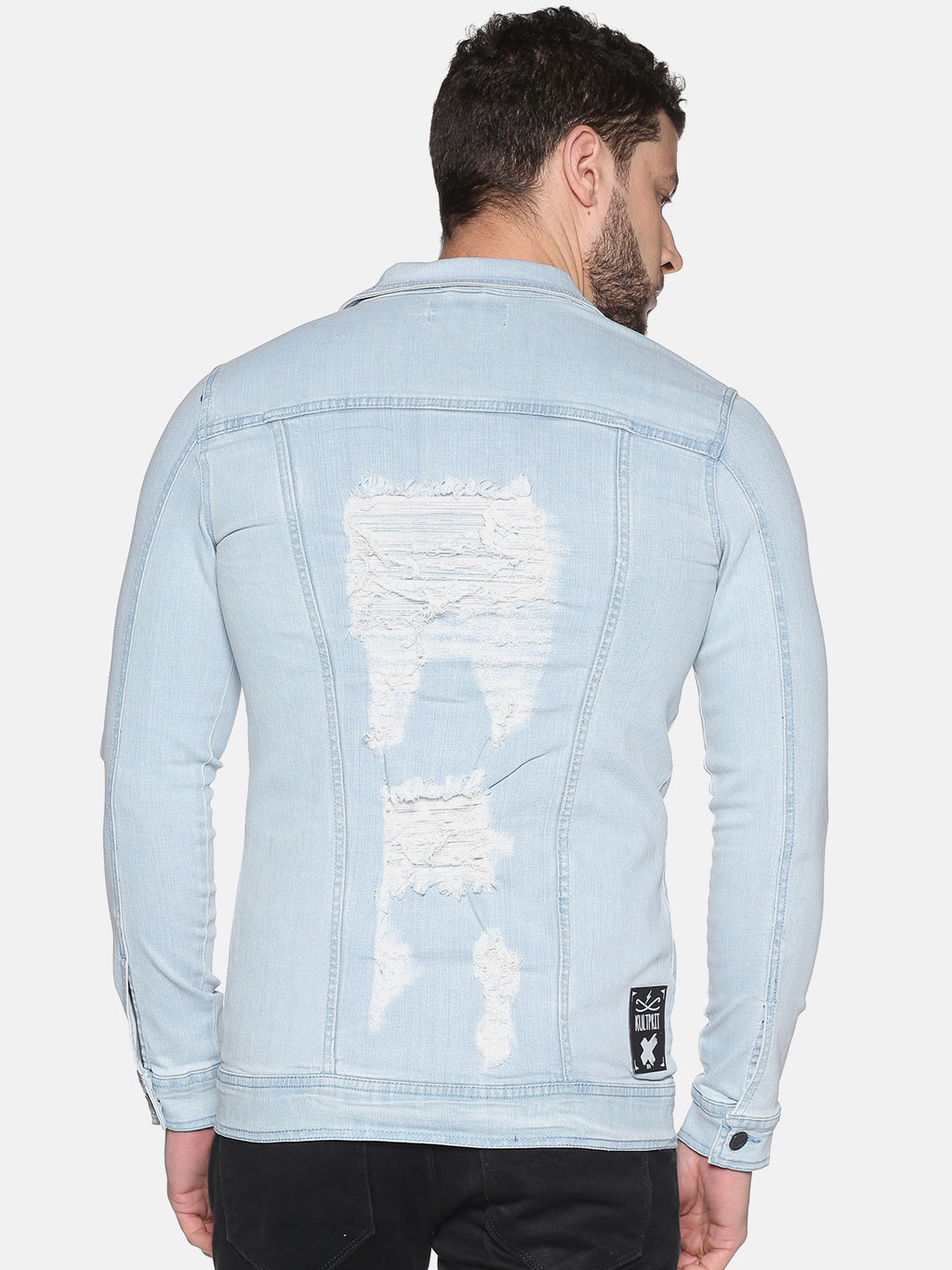 Kultprit Men's Full Sleeves Denim Jackets With Heavy Distressed