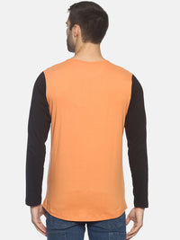 Printed Square Neck Full Sleeve T shirt With Curve Hem