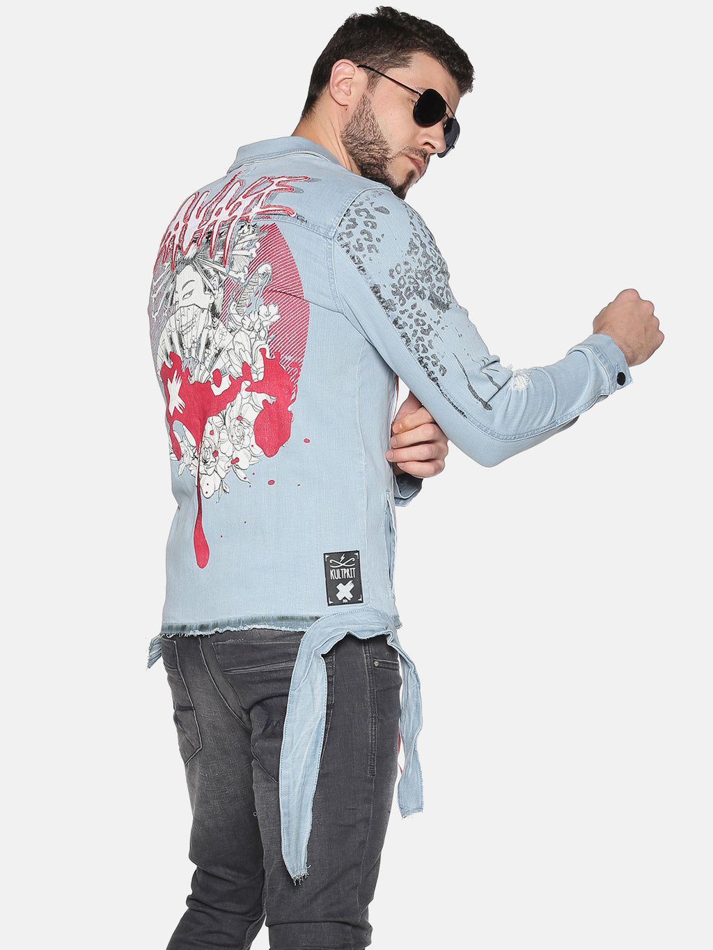 Kultprit Men's Full Sleeves Denim Jackets With Back Print & Front Mid Printed Tape