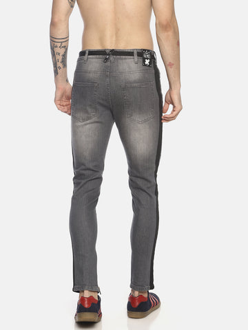 skinny denim with dual taps and distress