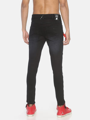 Black denim with holographic print