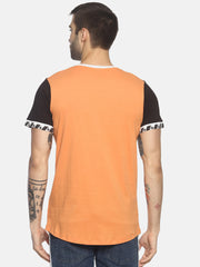 Colour Block , Round Neck T shirt With Curve Hem