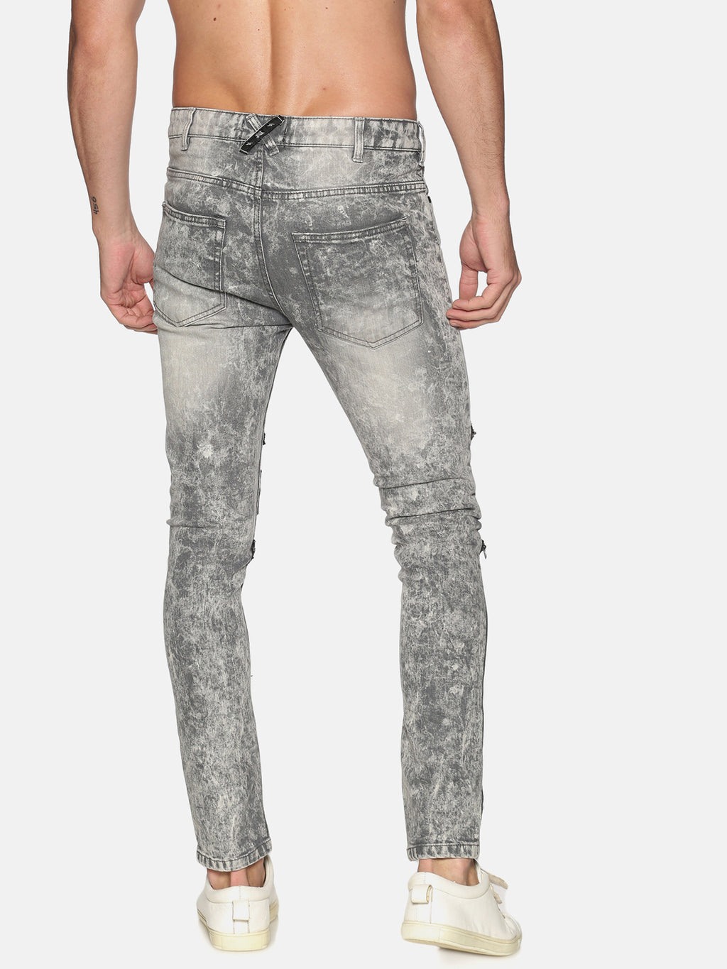 Kultprit Men's Skinny Jeans Knee Zipper With Placement Print Spray Wash