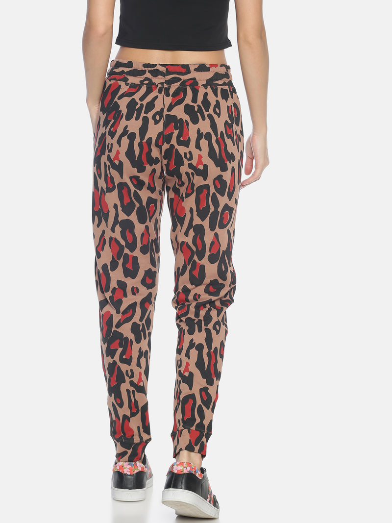 Women Slim Fit Joggers with leopard print