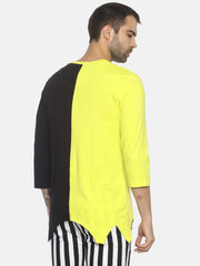 V Neck Colour Block Casual T- Shirt With Distressed